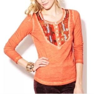Free People Tiger Eyes Sequin Henley Top